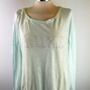 Juicy Couture Womens L Mint Green Tie Waist Top